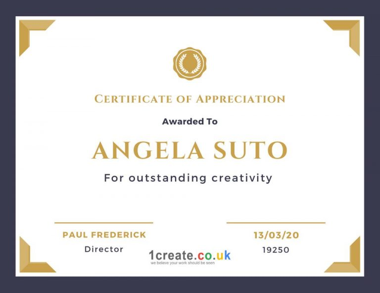 1create - Angela Suto Certificate of Appreciation