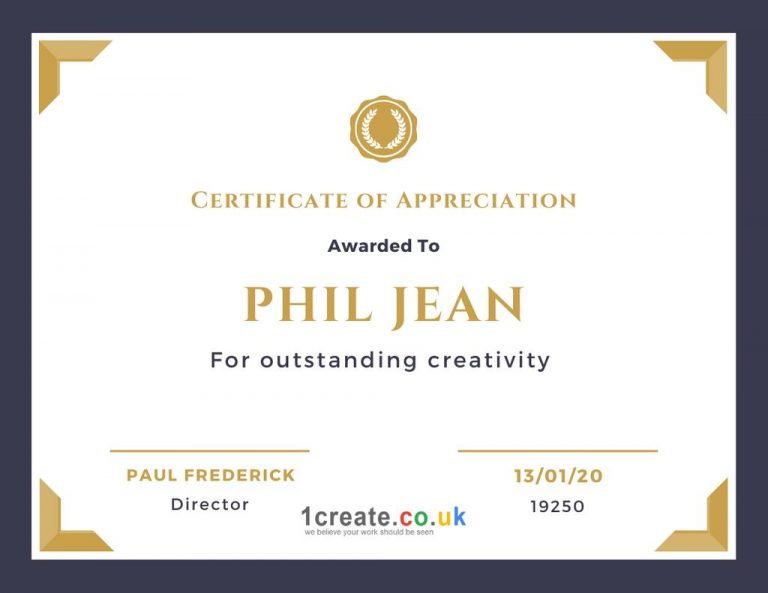 Phil Jean Certificate of Appreciation
