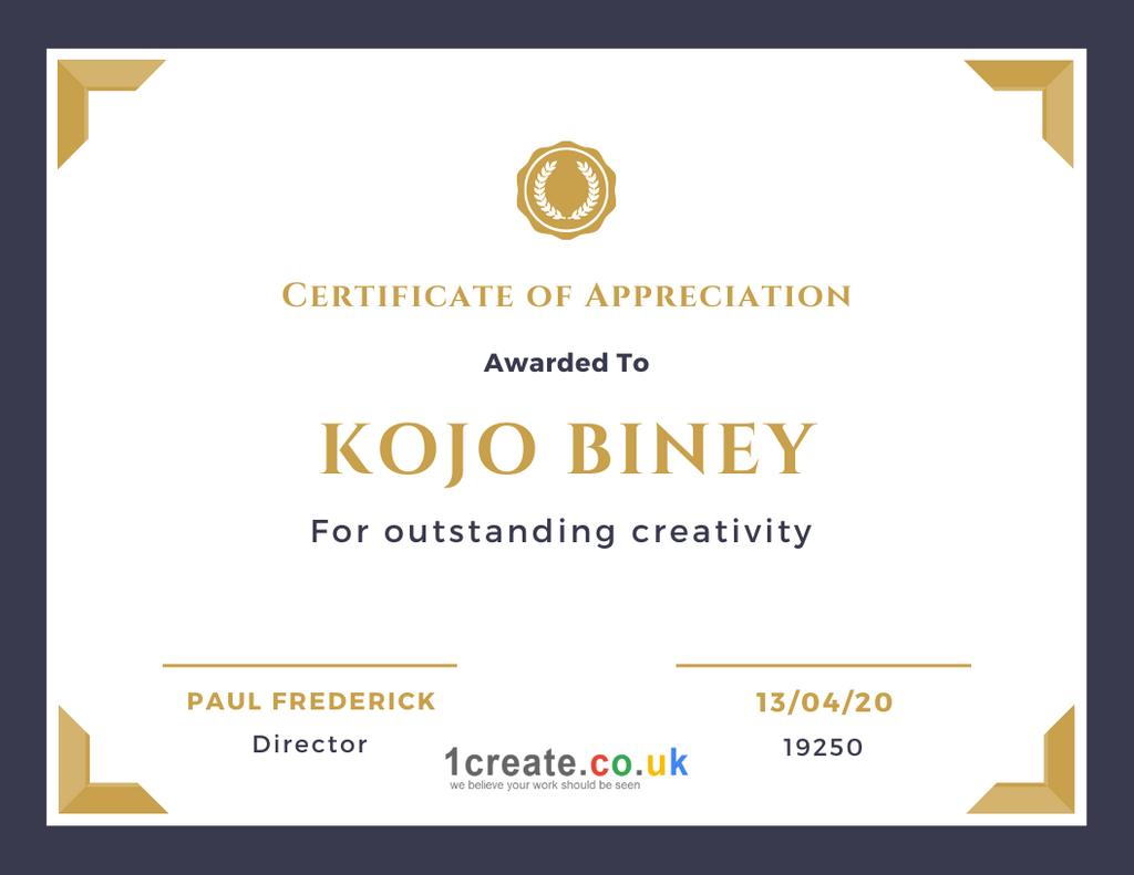 1create - Kojo Biney Certificate of Appreciation April 2020
