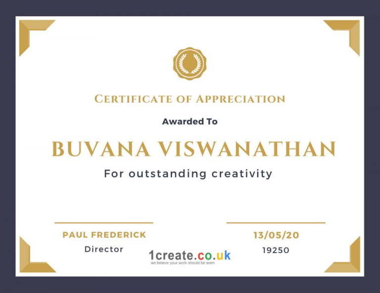 1create - Buvana Viswanathan Certificate of Appreciation June 2020