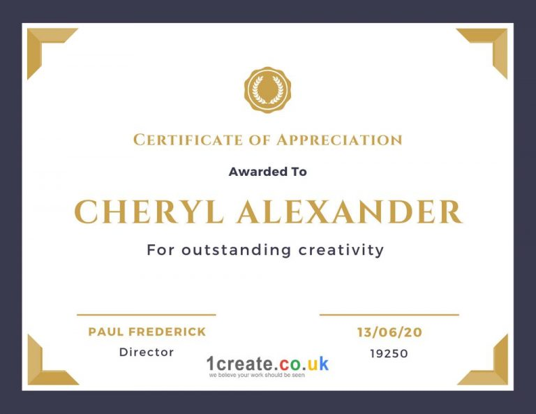 1create - Certificate of Appreciation Cheryl Alexander